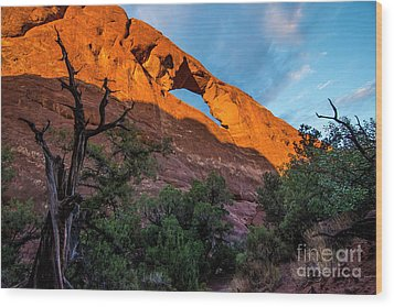 Wood Print featuring the photograph Skyline Arch At Sunset - Arches National Park - Utah by Gary Whitton
