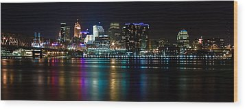 Skyline At Night Wood Print