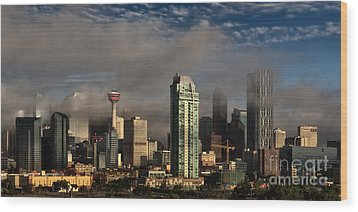 Skyline Fog Wood Print by Brad Allen Fine Art