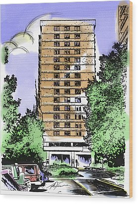 Skyline House Condo Wood Print