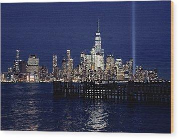 Skyline Lights Wood Print