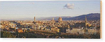 Skyline Of Florence From The Piazza Michelangelo At Dawn Wood Print by Jeremy Woodhouse