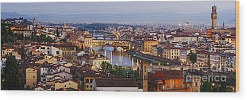 Skyline Of Historic Florence Wood Print by Jeremy Woodhouse