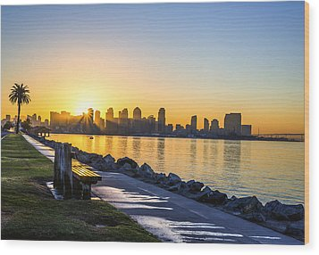 Skyline Sunrise Wood Print