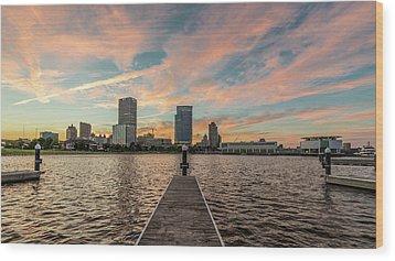 Wood Print featuring the photograph Skyline Sunset by Randy Scherkenbach