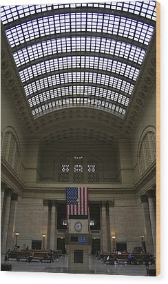 Skylit Chicago Union Station  Wood Print by Christopher Kirby