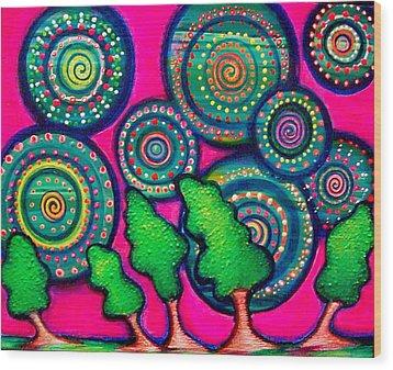 Skyrockets At Night Wood Print by Brenda Higginson