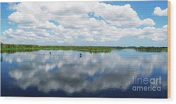 Skyscape Reflections Blue Cypress Marsh Conservation Area Near Vero Beach Florida C2 Wood Print