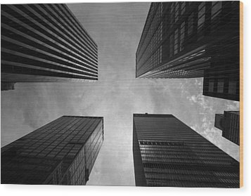 Skyscraper Intersection Wood Print