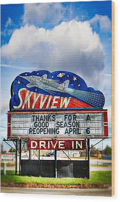 Skyview Drive-in Theater Wood Print by Robert  FERD Frank