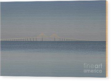 Skyway Bridge In Blue Wood Print by David Lee Thompson