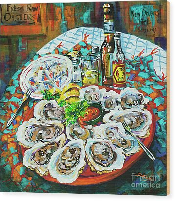 Wood Print featuring the painting Slap Dem Oysters  by Dianne Parks