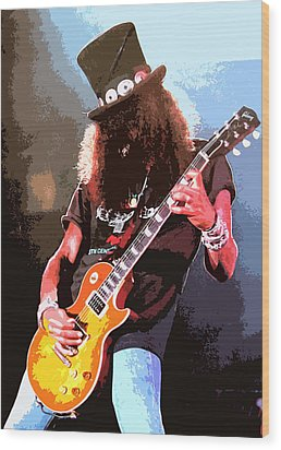 Slash Wood Print by Dandy Peacewell