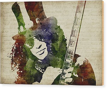 Slash Watercolor Wood Print by Mihaela Pater