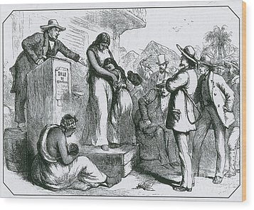 Slave Auction Wood Print by Photo Researchers