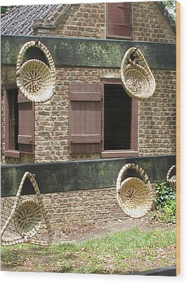 Slave Shack And Sweet Grass Baskets Wood Print by Staci-Jill Burnley
