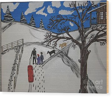 Wood Print featuring the painting Sled Riding by Jeffrey Koss