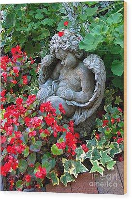 Sleeping Angel Wood Print by Sue Melvin