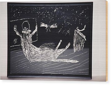 Wood Print featuring the drawing Sleeping Away A Good Day by AJ Brown