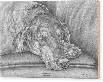 Sleeping Beauty - Doberman Pinscher Dog Art Print Wood Print by Kelli Swan