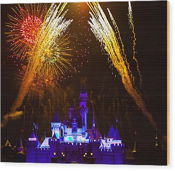 Sleeping Beauty Castle And Fireworks Wood Print by Sam Amato