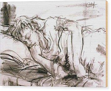 Wood Print featuring the painting Sleeping Boy by Debora Cardaci