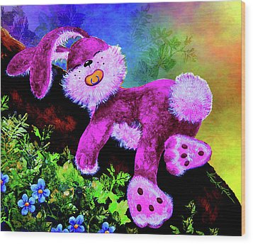Sleeping Bunny Wood Print by Hanne Lore Koehler