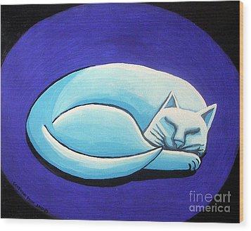 Sleeping Cat Wood Print by Genevieve Esson