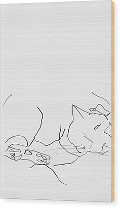 Sleeping Cat II Wood Print by Leela Payne