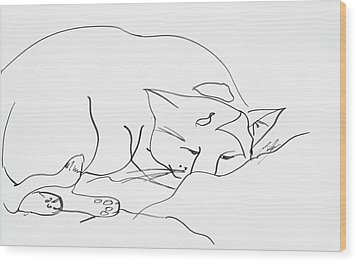 Sleeping Cat Wood Print by Leela Payne