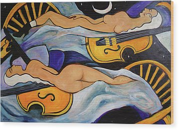 Sleeping Cellists Wood Print by Valerie Vescovi