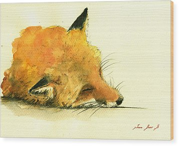 Sleeping Fox Wood Print by Juan  Bosco