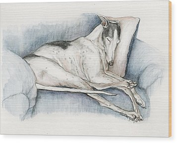 Sleeping Greyhound Wood Print