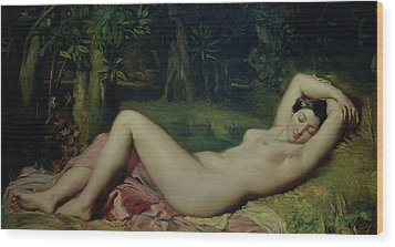 Sleeping Nymph Wood Print by Theodore Chasseriau