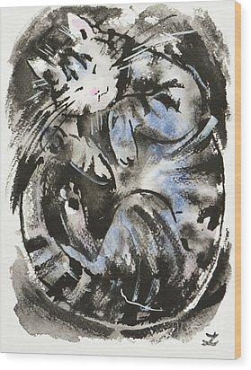 Wood Print featuring the painting Sleeping Tabby Cat by Zaira Dzhaubaeva