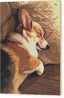Banjo The Sleeping Welsh Corgi Wood Print