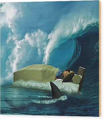 Sleeping With Sharks Wood Print