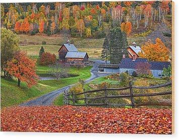 Sleepy Hollows Farm Woodstock Vermont Vt Autumn Bright Colors Wood Print