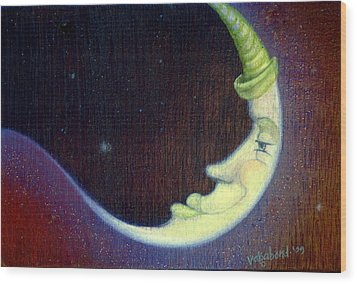 Sleepy Moon Wood Print