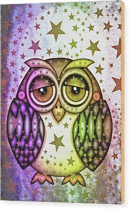 Wood Print featuring the photograph Sleepy Owl With Stars by Matthias Hauser