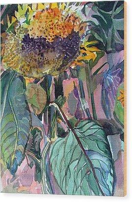 Sleepy Sunflower Wood Print by Mindy Newman