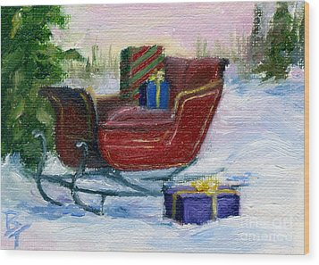 Wood Print featuring the painting Sleigh Aceo by Brenda Thour