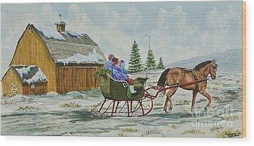 Sleigh Ride Wood Print by Charlotte Blanchard