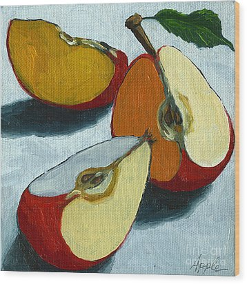 Sliced Apple Still Life Oil Painting Wood Print by Linda Apple