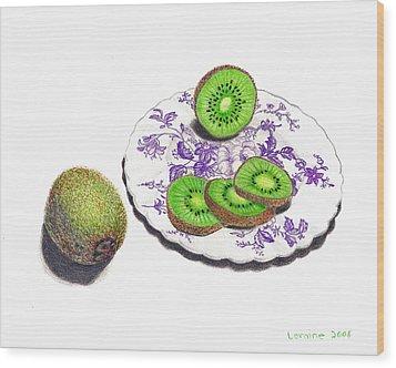 Sliced Kiwi Wood Print by Loraine LeBlanc