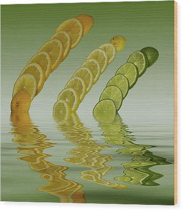 Wood Print featuring the photograph Slices  Grapefruit Lemon Lime Citrus Fruit by David French