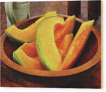 Slices Of Cantaloupe Wood Print by Susan Savad