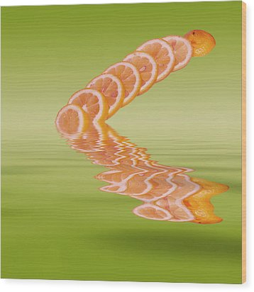 Wood Print featuring the photograph Slices Pink Grapefruit Citrus Fruit by David French