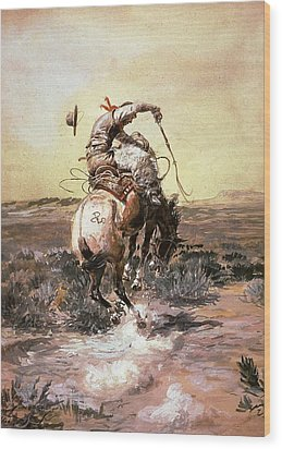 Slick Rider Wood Print by Charles Russell