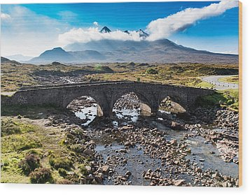 Wood Print featuring the photograph Skye Cuillin From Sligachan by Gary Eason